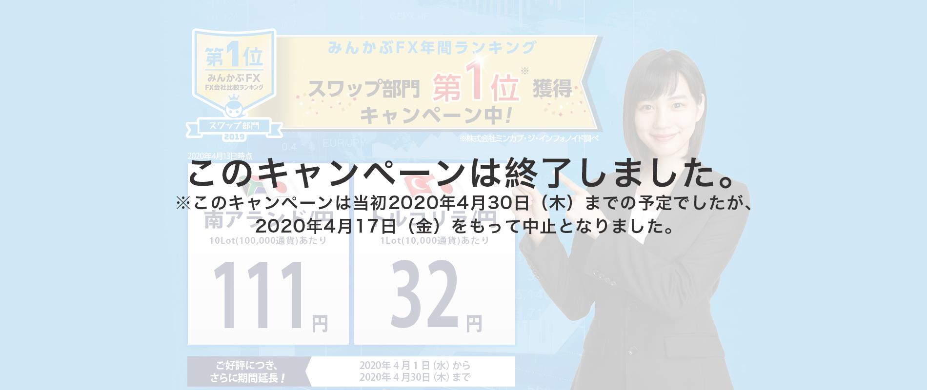 みんかぶFX年間ランキングスワップ部門第1位獲得キャンペーン第2弾
