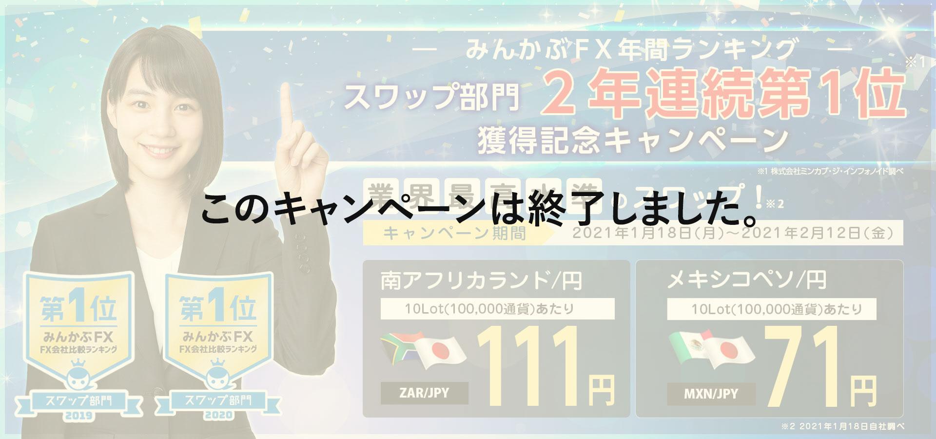 みんかぶFX年間ランキングスワップ部門2年連続第1位獲得記念キャンペーン