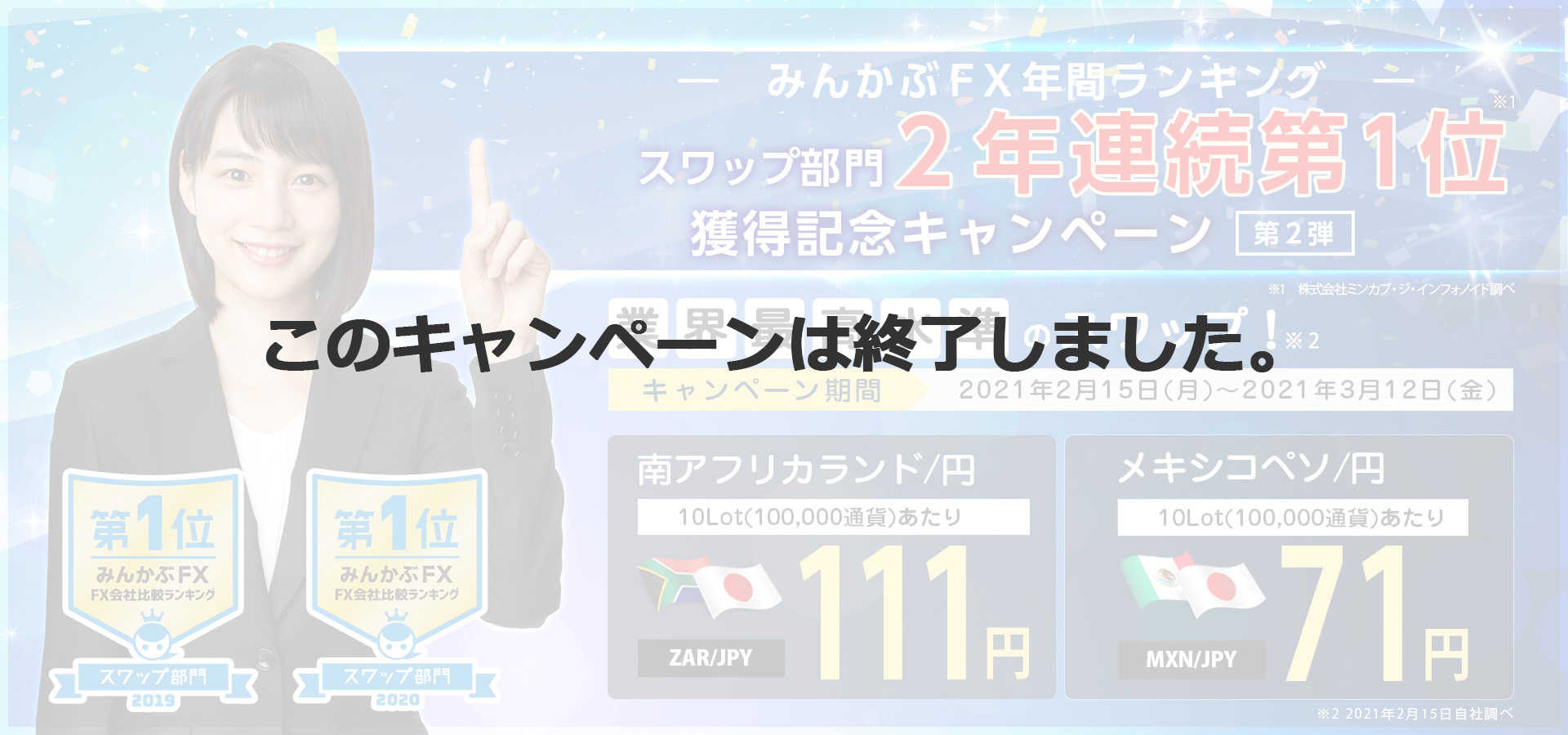 みんかぶFX年間ランキングスワップ部門2年連続第1位獲得記念キャンペーン第2弾
