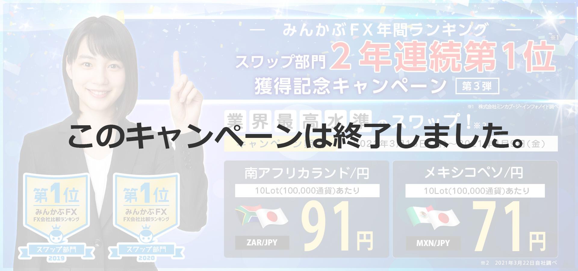 みんかぶFX年間ランキングスワップ部門2年連続第1位獲得記念キャンペーン第3弾